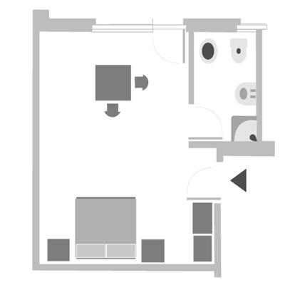 Zimmer für 2 oder 3 Personen